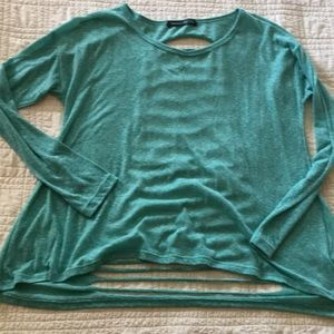 Teal long sleeve T-shirt with shredded back